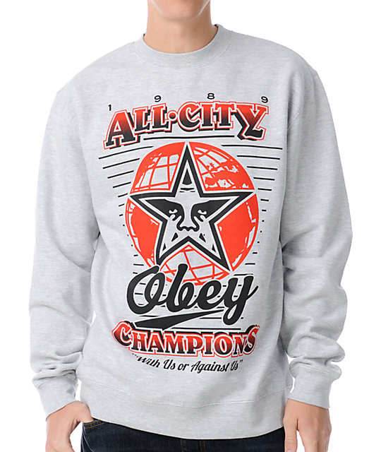 Obey 89 Champs Grey Crew Neck Sweatshirt