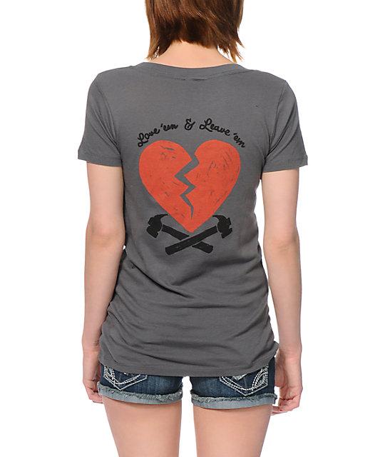 Obey 89 Heartbreakers Dark Grey V-Neck T-Shirt