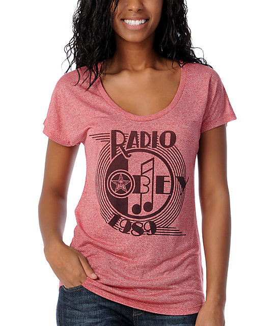 Obey AM Radio Red Mock Twist Dolman Top