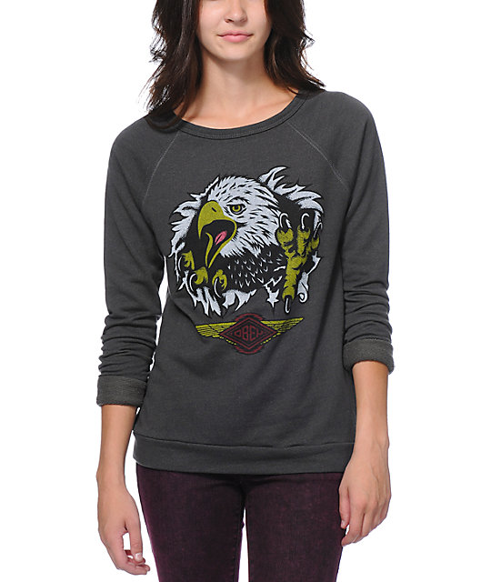 Obey Aguila Echo Mountain Graphite Crew Neck Sweatshirt