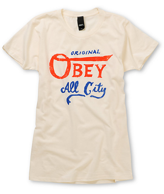 Obey All City Original Ivory White T-Shirt