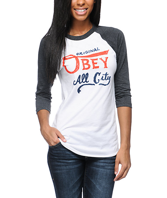 Obey All City Originals White & Charcoal Baseball Tee
