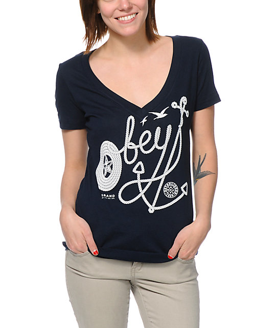 Obey Anchor Crate Navy Blue V-Neck T-Shirt