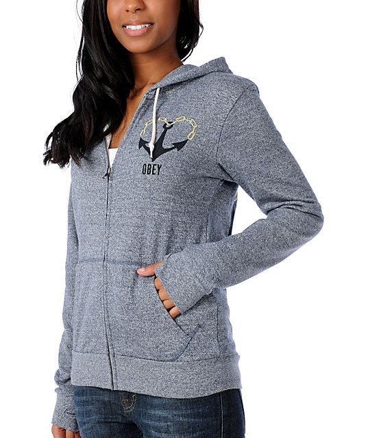 Obey Anchored Love Navy Zip Up Hoodie
