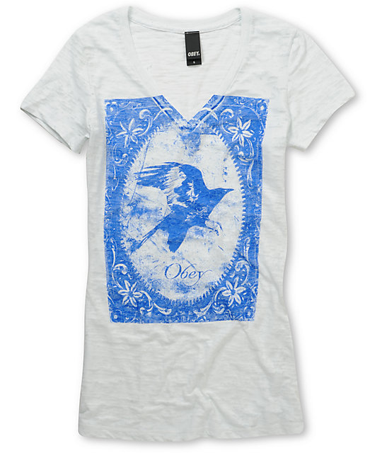 Obey Antique Crow Light Blue Burnout V-Neck T-Shirt
