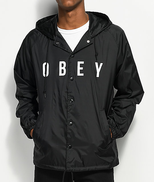 Obey Anyway Black Hooded Coaches Jacket