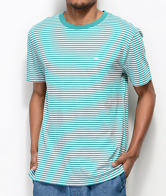 Obey Apex Teal &Amp; White Striped Knit T Shirt by Obey