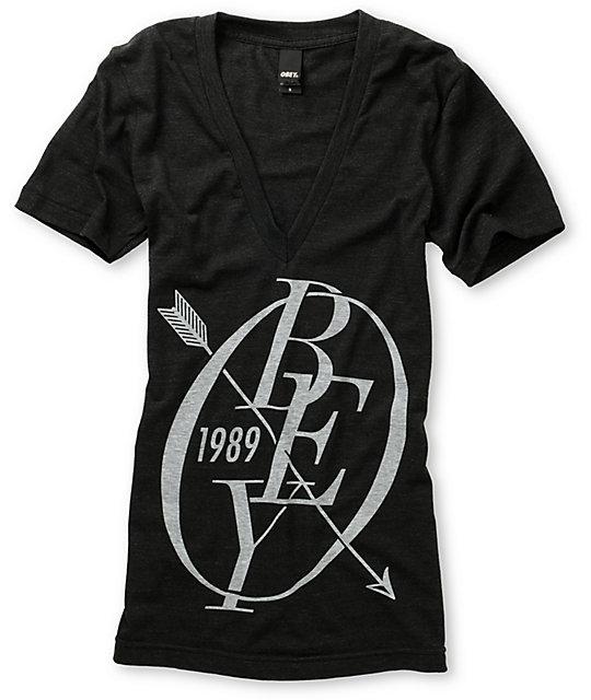 Obey Archery Heather Black V-Neck T-Shirt