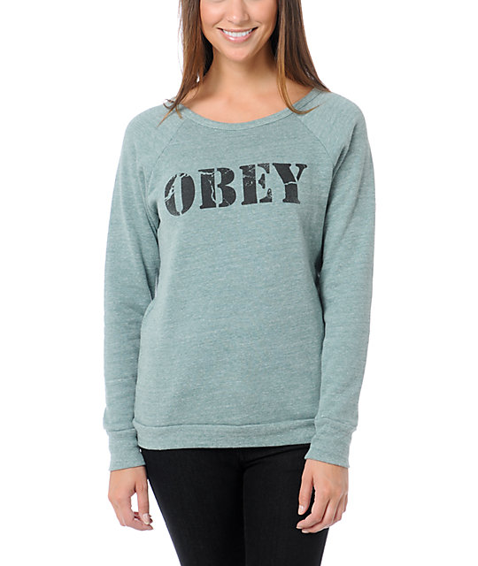 Obey Army Heather Green Vandal Crew Neck Sweatshirt