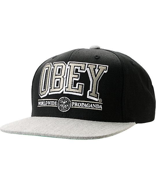 Obey Athletics Black & Heather Grey Snapback Hat