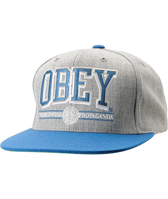 Obey Athletics Heather Grey & Blue Snapback Hat