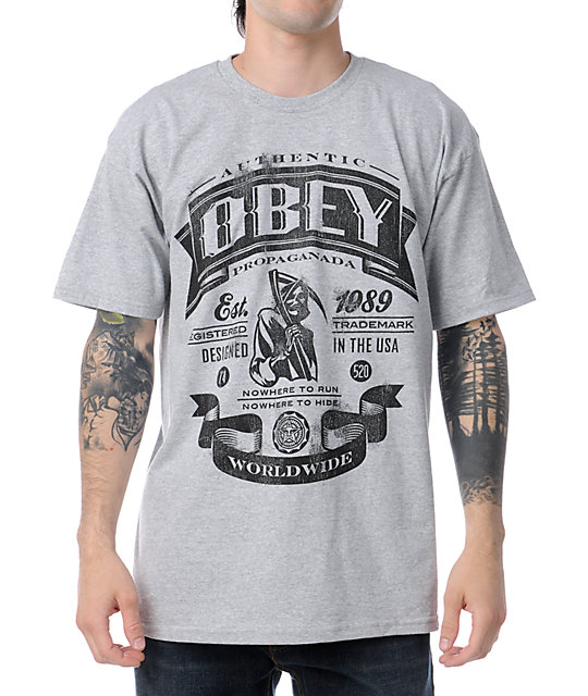 Obey Authentic Reaper Grey T-Shirt