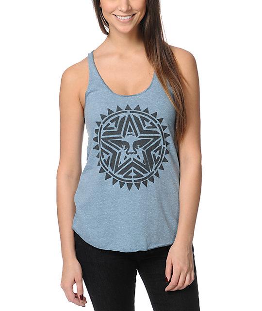 Obey Aztec Stencil Heather Blue Tank Top