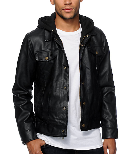 Obey Backstage Hooded Faux Leather Jacket at Zumiez : PDP
