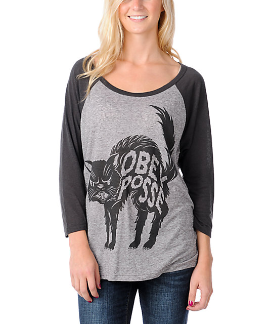 Obey Bad Luck Black & Heather GreyBaseball Tee