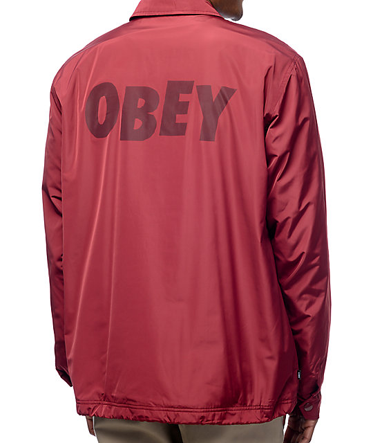Obey Baker Graphic Burgundy Coaches Jacket | Zumiez