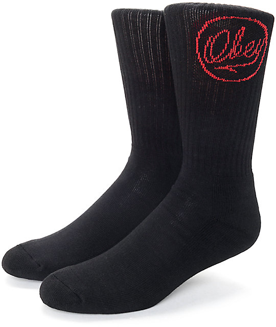 Obey Ballpoint Black Crew Socks