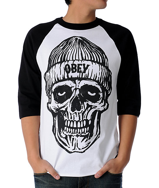 Obey Beanie Skull White & Black Baseball T-Shirt