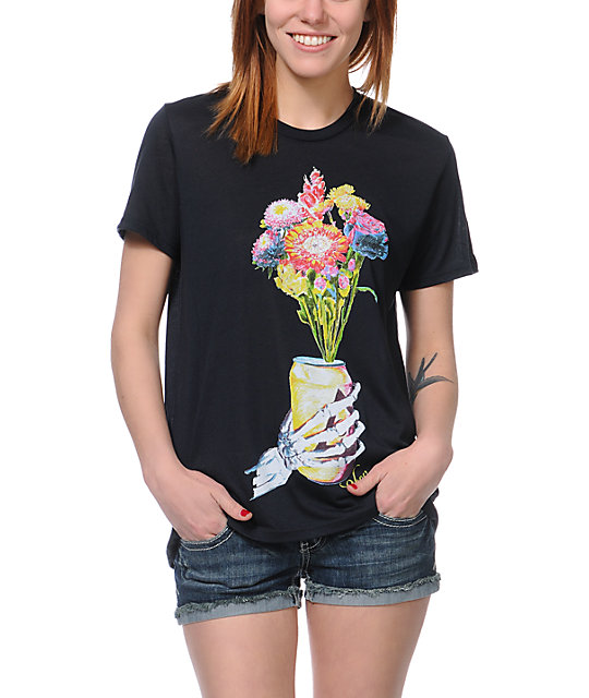 Obey Beer Flower After Hours Black T-Shirt