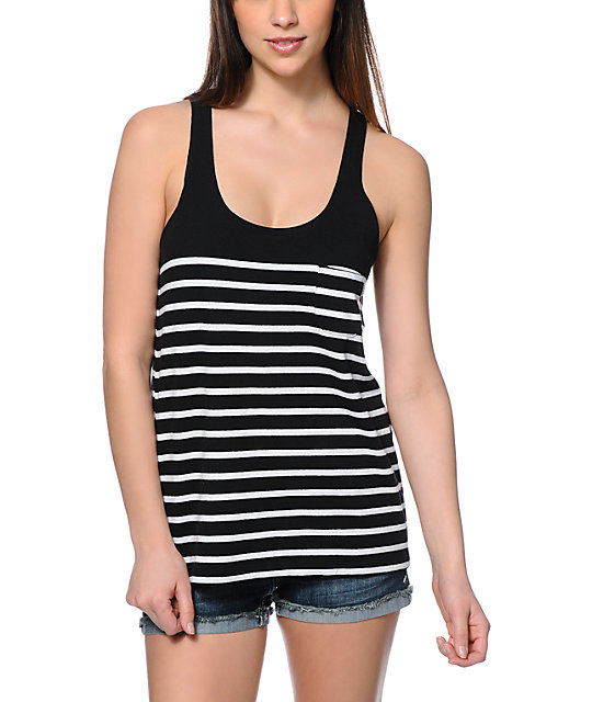 All your besties will be begging you to share the Lulus Yours and Line Black and White Striped Tank Top with them! Ultra soft black and white striped jersey knit forms a sultry V-neckline, adjustable spaghetti straps, and a relaxed bodice with a sultry, ruched drawstring to show a little (or a lot of!) skin!/5(4).