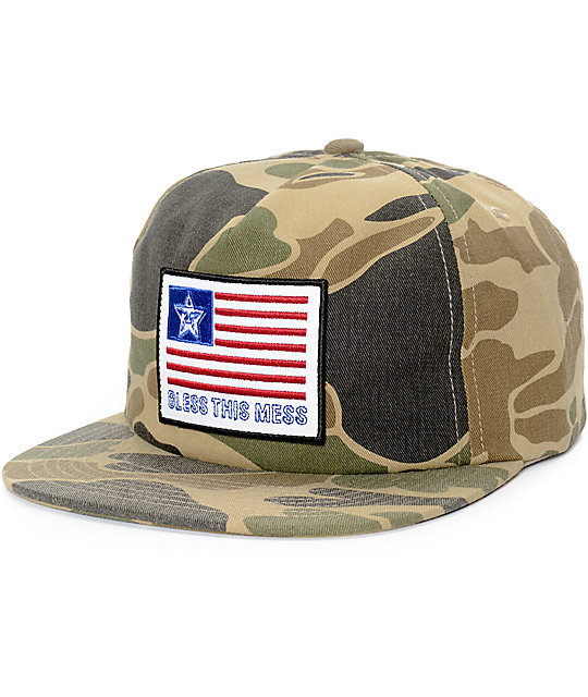Obey Bless Camo Snapback Hat