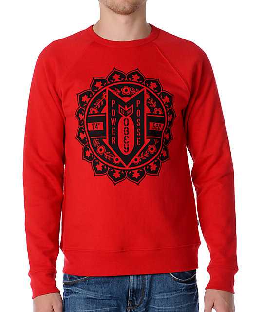 Obey Bomb Crest Red Crew Neck Sweatshirt