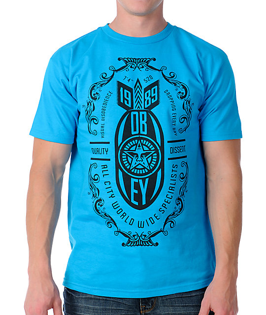 Obey Bomb Drops Turquoise T-Shirt