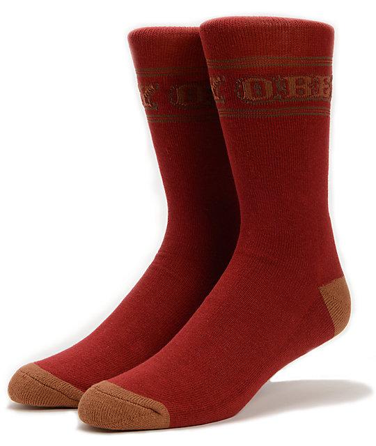 Obey Boom Town Burgundy Crew Socks