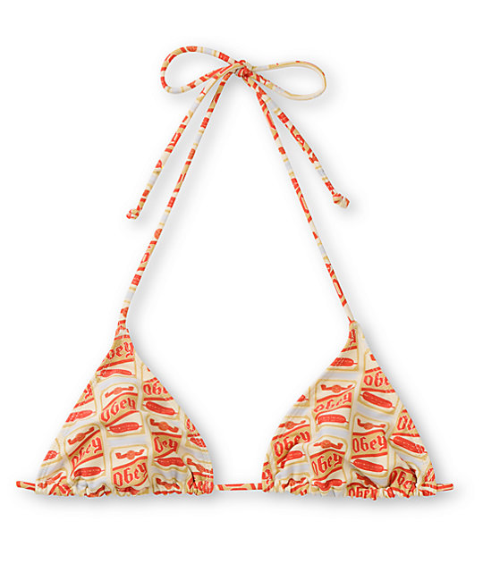 Obey Booze Can Cream Triangle Bikini Top