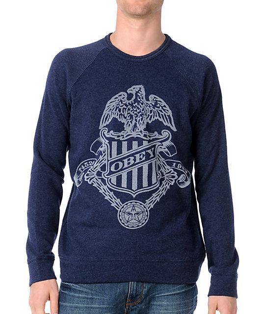 Obey Born Free Heather Indigo Blue Pullover Sweatshirt