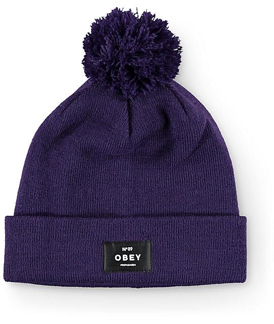 Obey Boulder Purple Pom Beanie