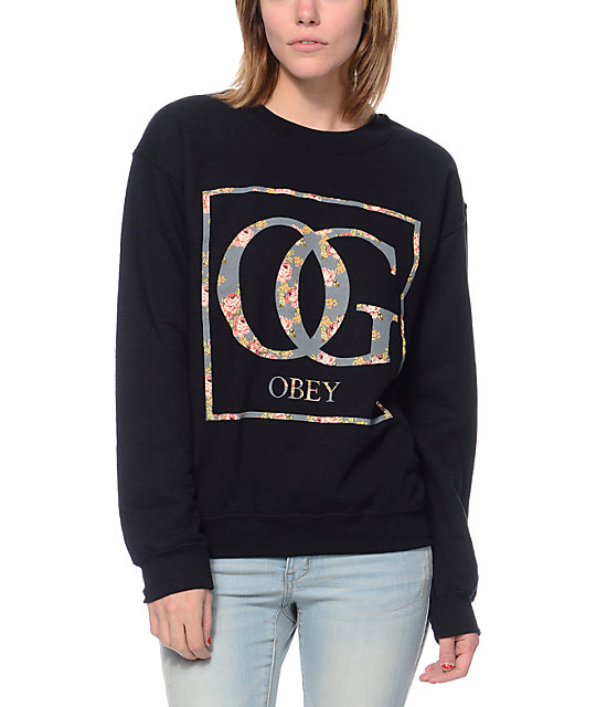 Boxed OG Floral Black Throwback Crew Neck Sweatshirt