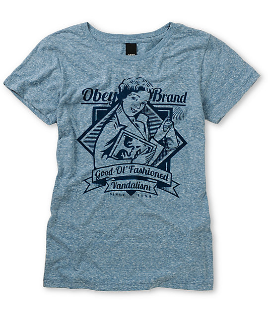 Obey Brandalism Heather Blue T-Shirt