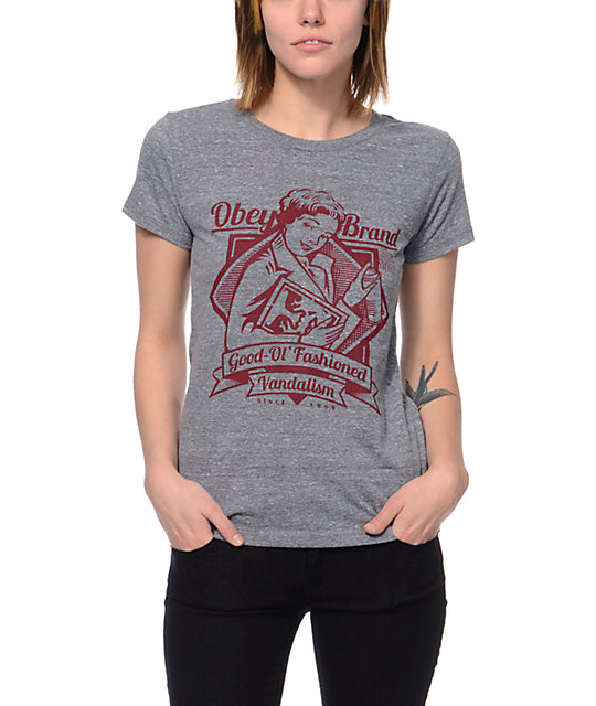 Obey Brandalism Heather Grey T-Shirt