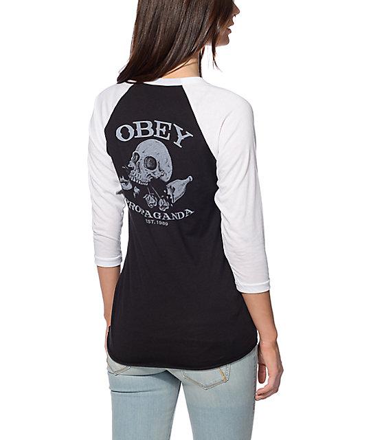 Obey Broken Bottles Black & White Baseball Tee
