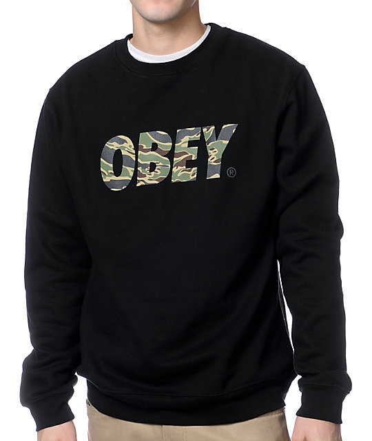 Obey Camo Font Black Crew Neck Sweatshirt