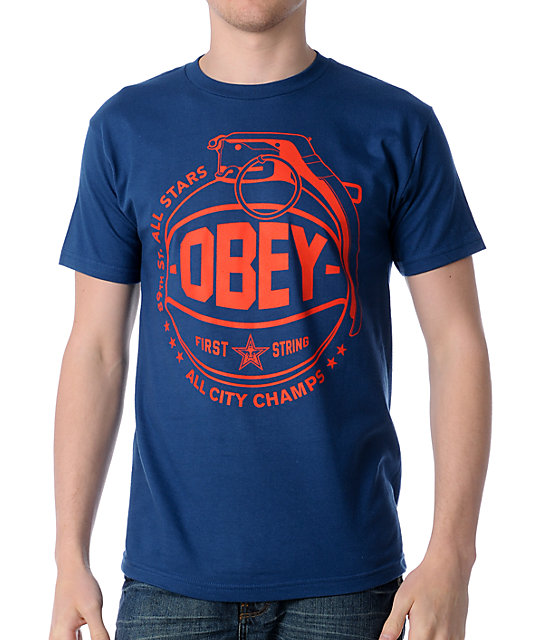 Obey Cant Jump Blue T-Shirt