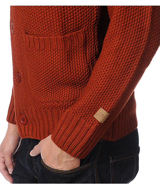 Obey Carver Dark Orange Cardigan Sweater