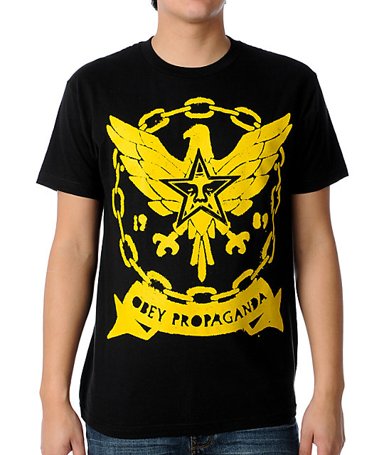 Obey Chained Eagle Black T-Shirt