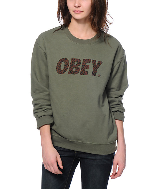 Obey Cheetah Font Light Green Throwback Crew Neck Sweatshirt