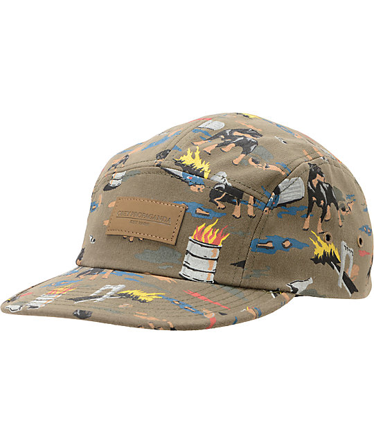Obey City Hunting Dark Olive Camper 5 Panel Hat