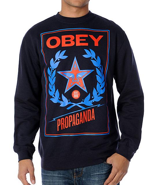 Obey Classic Crest Black Navy Crew Neck Sweatshirt