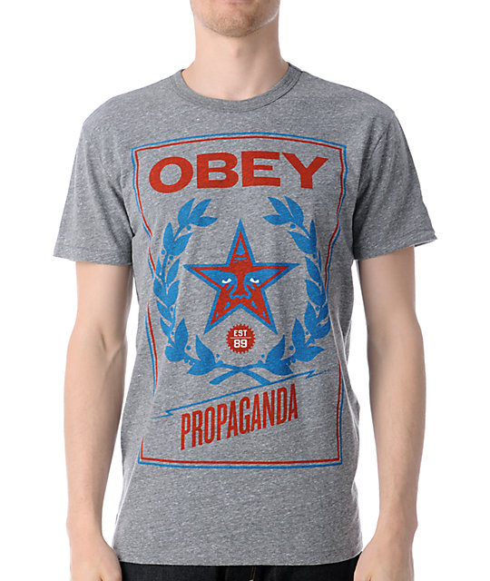 Obey Classic Crest Heather Grey Tri-Blend T-Shirt