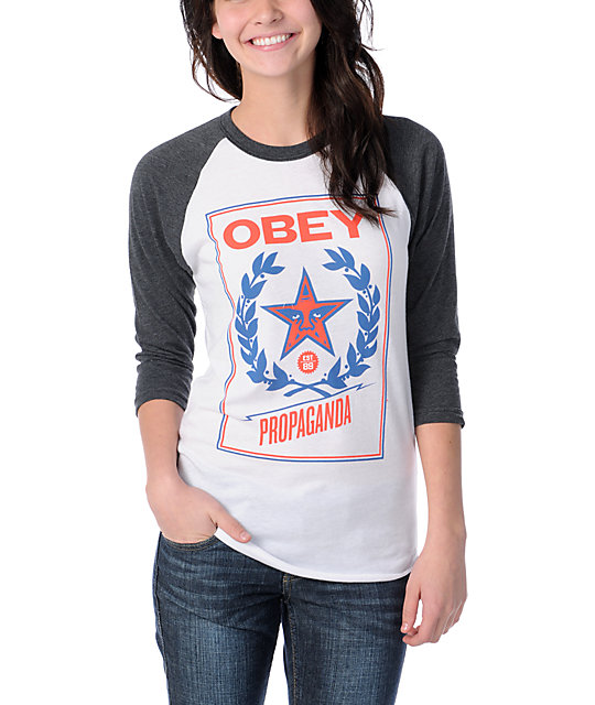 Obey Classic Crest White-Charcoal Baseball Tee