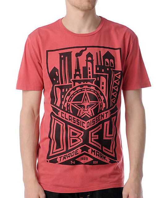 Obey Classic Dissent Red Thrift T-Shirt