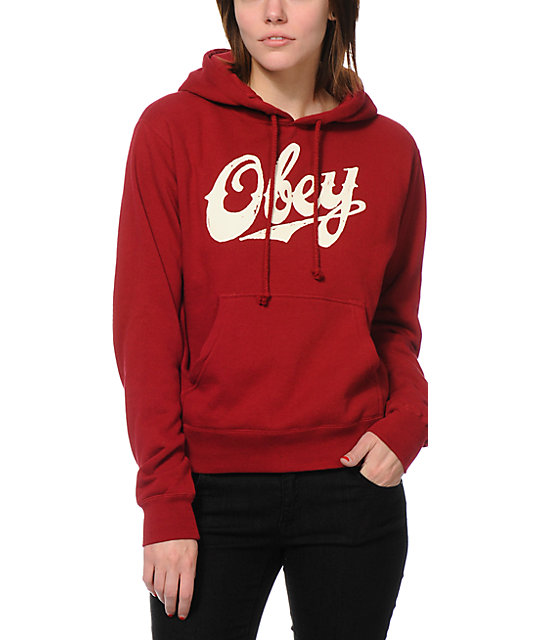 Obey Classic Script Garnet Red Pullover Hoodie