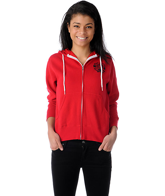 Obey Clover Coin Red Zip Up Hoodie