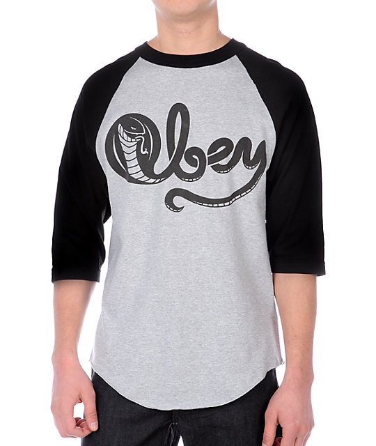 Obey Cobra Posse Grey Baseball T-Shirt