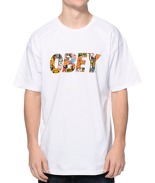 Obey Collage Fill White T-Shirt
