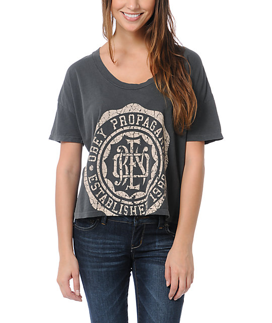 Obey College Crest Charcoal Grey Vintage Crop T-Shirt